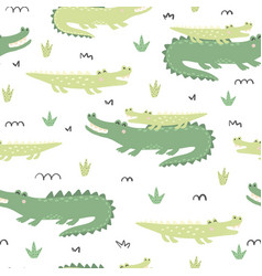 seamless pattern with cute crocodiles vector image
