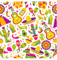 seamless pattern with mexican elements vector image