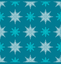 Seamless pattern with snowflake vector