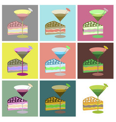 Set icons in flat design cocktail and cake vector