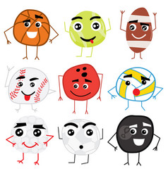 Set of cute cartoon balls characters vector