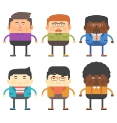 Set of six men characters different races vector