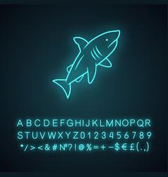 shark neon light icon dangerous ocean predator vector image