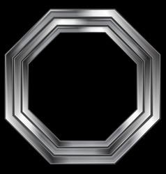 Silver metallic octagon shape design vector