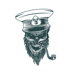 skull captain with a pipe monochrome hand drawn vector image