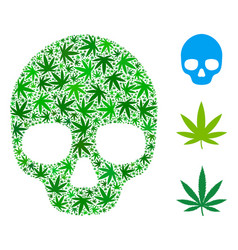 Skull mosaic of cannabis vector