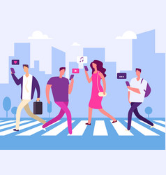 social media and people in big town vector image