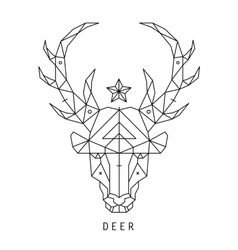 Stylized deer head silhouette with triangles vector