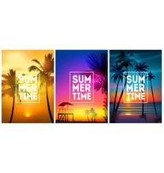 summer tropical beach backgrounds set with palms vector image