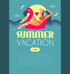 summer vacation girl on flamingo swimming circle vector image