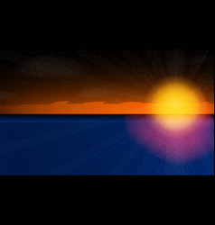 Sunny sunset over the sea vector