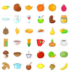 Vegetarian cook icons set cartoon style vector
