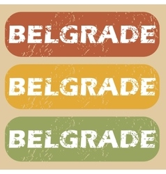 Vintage Belgrade stamp set vector image