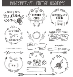 Vintage logotypes template setDoodle hand sketchy vector image