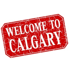 Welcome to Calgary red square grunge stamp vector