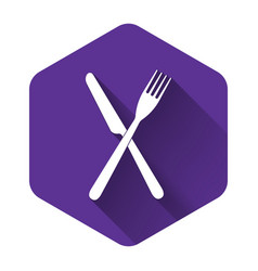 white crossed fork and knife icon isolated with vector image