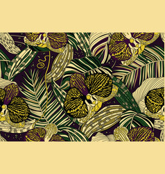 Wild dark orchids and tropical leaves vector