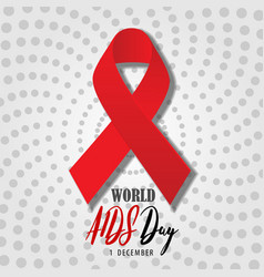 world aids day poster with realistic red ribbon vector image