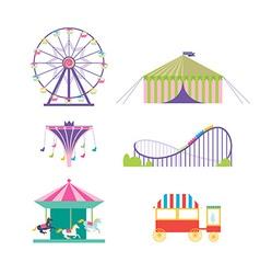 Amusement park set Ferris wheel roller coaster vector image