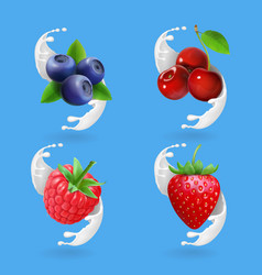 berries and yogurt cherry blueberry strawberry vector image vector image