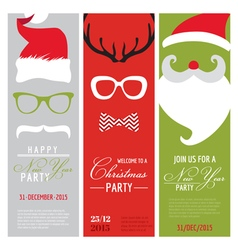 Christmas and New Year Retro Party Cards vector image