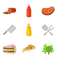 cutting food icons set cartoon style vector image vector image