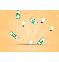 Dollar money and light bulb out from background vector image vector image