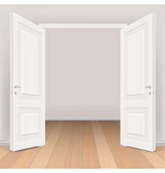 double white open door in living room vector image
