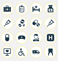 drug icons set collection of spike chest mark vector image vector image