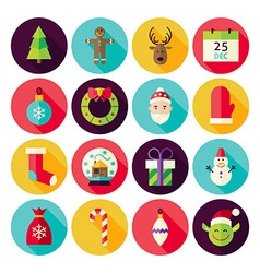 Merry Christmas New Year Circle Icons Set with vector image vector image