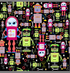 seamless background funny colorful robots vector image vector image