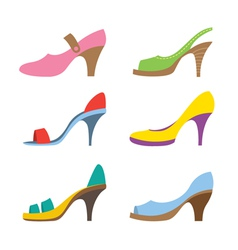 Set Of Colorful High Heels Shoes vector image vector image