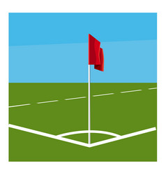 soccer field corner with red flag icon vector image