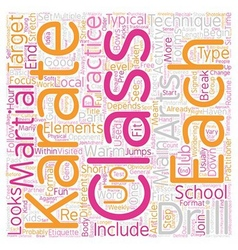 The 8 main elements of a typical karate class text vector