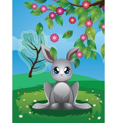 White Rabbit on Lawn vector image vector image