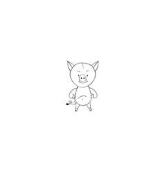 wild boar cartoon icon vector image