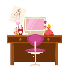 Workplace of little girl vector