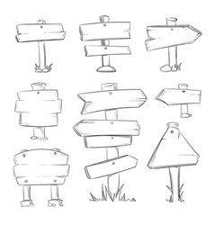 cartoon doodle road wooden signs set vector image vector image