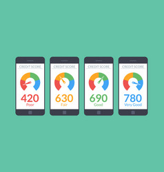 collection smartphones with credit score app on vector image