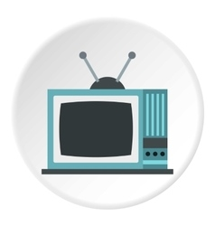 Retro tv icon flat style vector