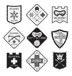 set of ski logos ski patrol rental in flat style vector image