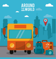 around the world bus pin map luggage photo camera vector image vector image