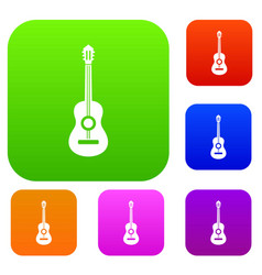 classical guitar set collection vector image