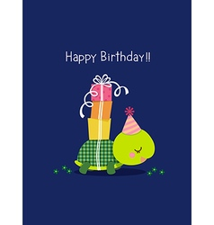 Happy birthday card with cute turtle vector image vector image