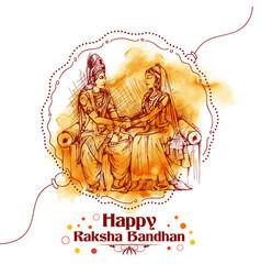 subhadra tying rakhi to krishna on raksha bandhan vector image