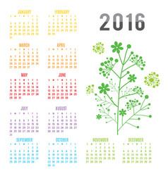 calendar 2016 flower vector image vector image