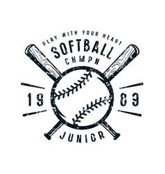 emblem of softball junior team vector image vector image