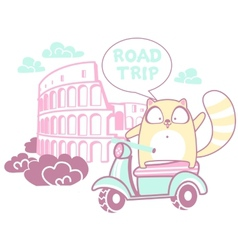 Road trip with a cat vector image vector image