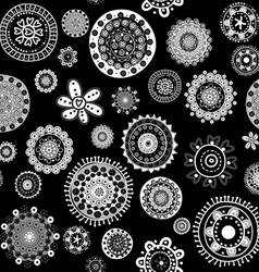 White doodle flowers over black background vector image vector image