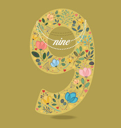 yellow number nine with floral decor and necklace vector image vector image